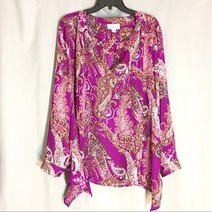 Simply Emma Purple Paisley LongSleeve Tunic Top 2X